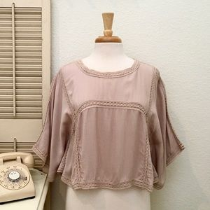 Manhattan Blues Boho Crop Batwing Crêpe Top NWT
